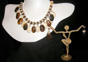 Photo: <BEREHYNYA> {Great Goddess Protectress} unique one-of-a-kind statement jewellery by Luba Bilash ART & ADORNMENT  #104 - Alliance - Об'єднання - bone; silver-plate; SS $90/set SOLD