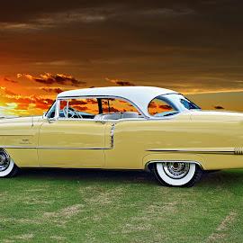 Cruella DeVille by JEFFREY LORBER - Transportation Automobiles ( jeffrey lorber, rust 'n chrome, yellow car, coupe deville, cadillac, lorberphoto, 1956 )
