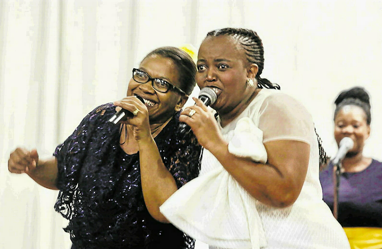 Singer Yolanda Vuthela, joined by Khayisa Sabuka on stage at the fourth Women Empowerment and Celebration event that was held at the Guild Theatre over the weekend.