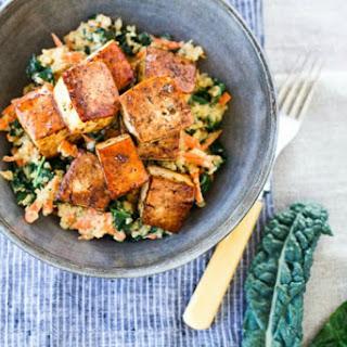 Crispy Baked Tofu With Shredded Veggie Quinoa [Vegan, Gluten-Free]