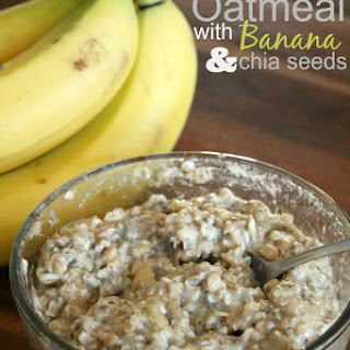 Overnight Oatmeal with Bananas and Chia Seeds.