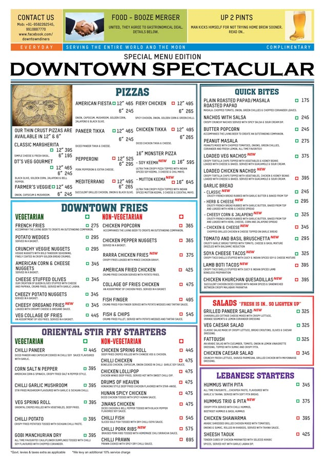 Downtown - Diners & Living Beer Cafe menu 1