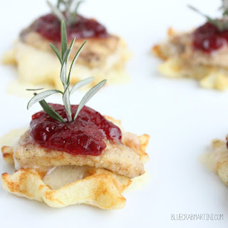 Chicken & Waffles with Creamy Havarti Cheese & Cranberry Compote