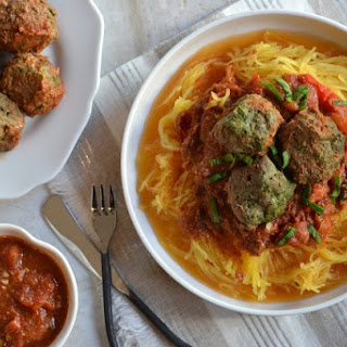 Slow Cooker Spinach Meatballs and Spaghetti Squash