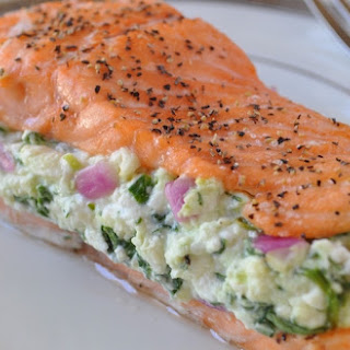 Simple Salmon with Spinach Feta Stuffing Recipe