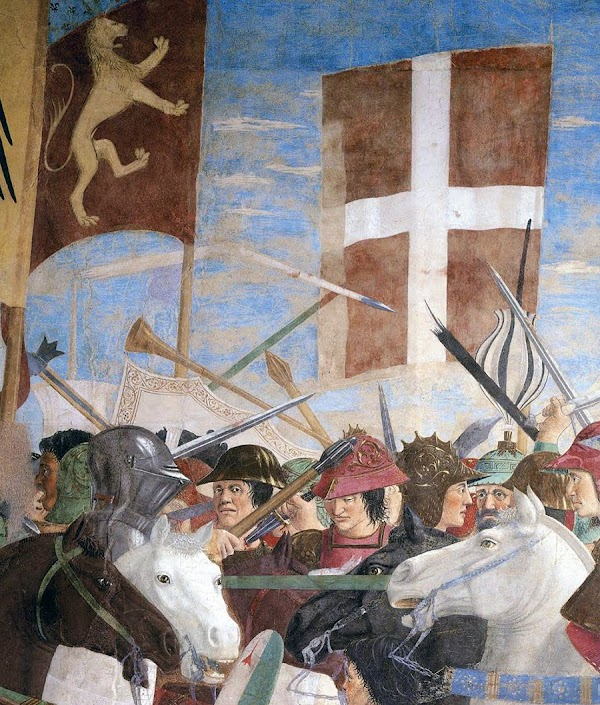 Piero della Francesca, Le Storie della Vera Croce, Battaglia di Eraclio e Cosroè, (particolare, una mischia inestricabile di combattenti), Basilica di San Francesco, Arezzo