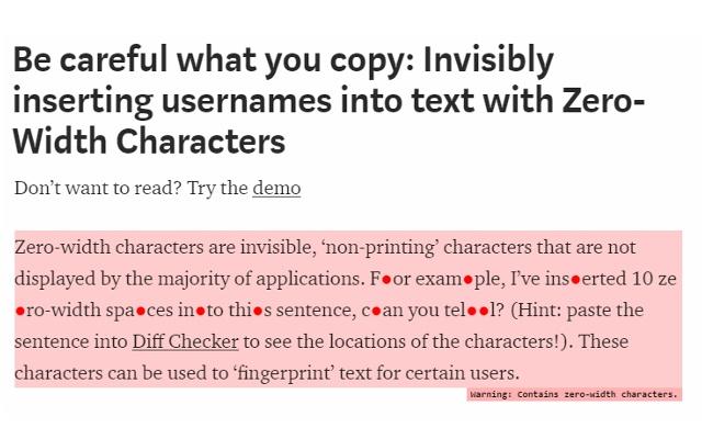 Detect Zero-Width Characters