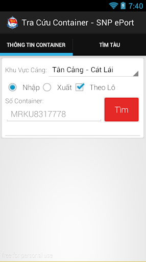 Tra cuu Container Cang Cat Lai screenshot 3