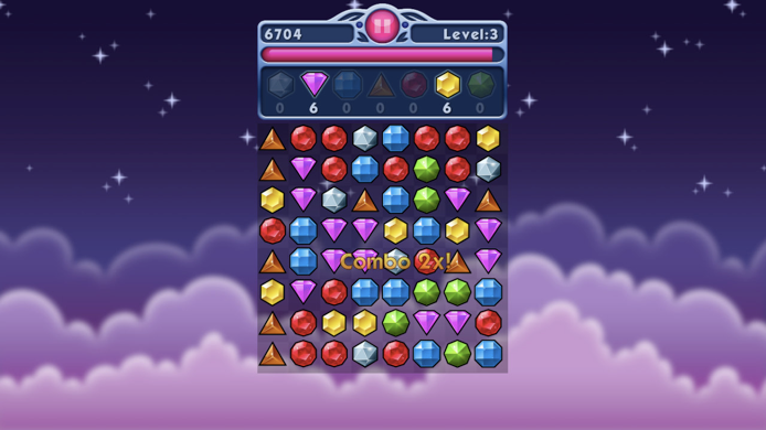 The background is purple with clouds and stars. The middle third of the screen shows a grid of differently colored cartoon gems. The gems are shaped differently depending on their color. Above the grid of jewels is a panel that shows the score, current level, a progress bar that represents time remaining, and a small number under each type of jewel. Some of these jewels are grayed out while others are vibrant.