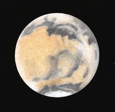 Photo: Mars le 15 février 2010 à 21H32TU, au T406 à 350X en bino,  filtre rouge. Turbu assez médiocre.