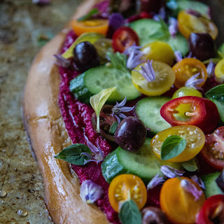Greek Salad Pizza with Beet Hummus Recipe