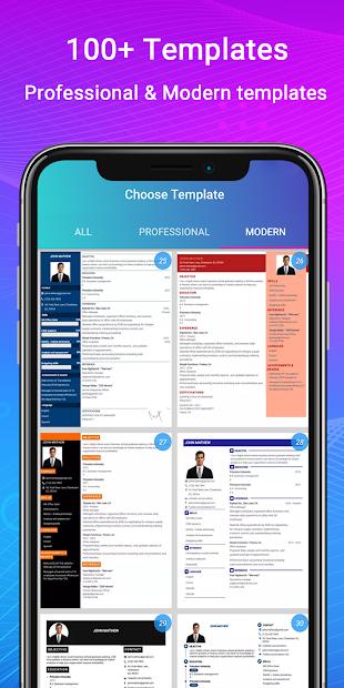 Resume Builder App Free CV maker CV templates 2020 Android App Screenshot