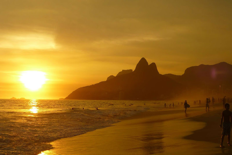 Ipanema Beach, with Sugarloaf Mountain in the distance, in Rio de Janeiro, Brazil.