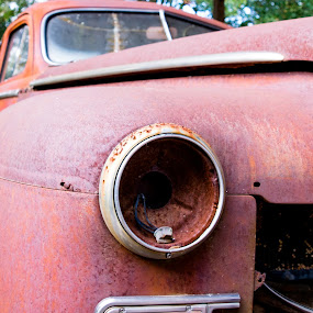 Abandoned Car by Gwyn Goodrow - Artistic Objects Antiques ( car, vehicle, headlight, auto, rust, transporttion, antique,  )