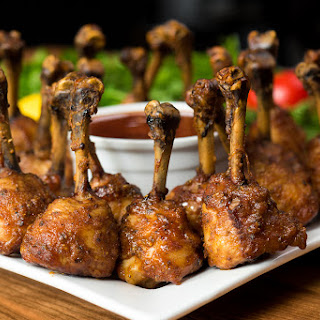 Smoked Chicken Lollipops with Cola BBQ Sauce.