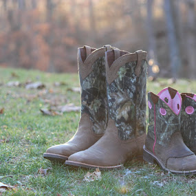 His & Hers by Heather Taulbee McIntyre - Novices Only Objects & Still Life ( fall, western, leaves, boots )