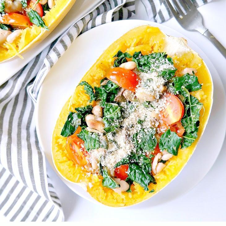 Tuscan Kale and White Bean Spaghetti Squash Bake