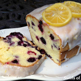 Meyer Lemon Glazed Blueberry Pound Cake.