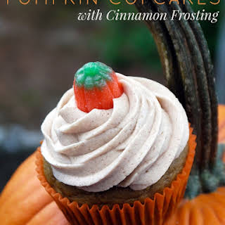 Pumpkin Cupcakes with Cinnamon Frosting.