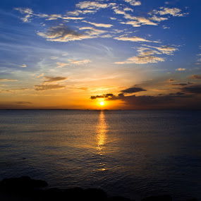 Calm Sunset by Jed Ivan Javillo - Landscapes Sunsets & Sunrises ( sunset, peace, beach, view, gold )