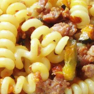 Fusilli Bucati Corti With Sausage and Saffron Zucchini.