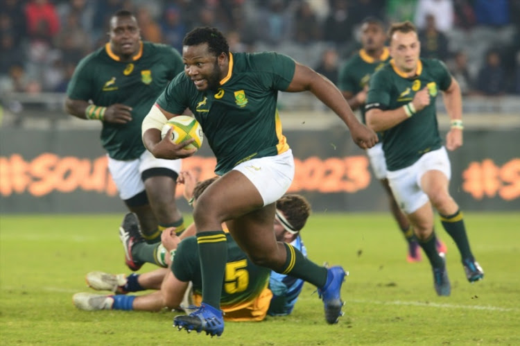 Ox Nche of South Africa A on his way to score during the match between South Africa A and French Barbarians at Orlando Stadium on June 23, 2017 in Johannesburg, South Africa.