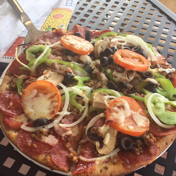 The works gf pizza