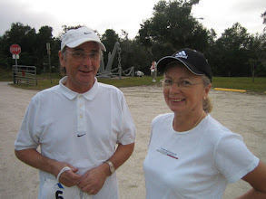 Photo: Klaus and Margret Diegritz - We can always depend on our good friends (and Honorary Club Members) who always fly in from Eberbach, Germany to walk in the race. Klaus is a Past President of his Club.