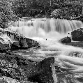 Deckers Creek by Jason Lemley - Black & White Landscapes ( winter, waterfall, outdoors, landscapes, deckers creek )