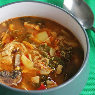 Slow-Cooker Red Curry Soup With Chicken and Kale.