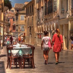 Kerkyra by Branislav Rupar - City,  Street & Park  Street Scenes ( hdr, e-620, greece, street, sea, corfu, olympus )