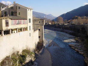 Photo: Back to ground level, and the Var river separating old from new.