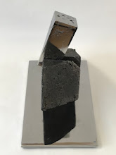 Photo: WEDGE IMPACTING RHOMBOHEDRON - 10H X 12W X 7D Lost Foam Iron Casting (as-cast and polished) and Polished Steel, Collaboration with Marilyn Block Ugiansky (LSide View)