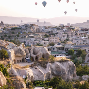 Cappadocia by Cristiana Chivarria - City,  Street & Park  Vistas ( hot air balloon, caves, sunrise, turkey, landscape, cappadocia )