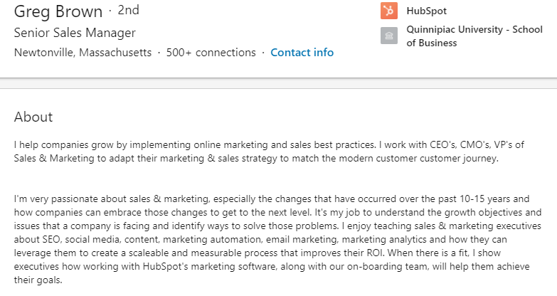 An example of a LinkedIn summary that's optimized for sales.