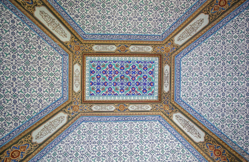Intricate tile patterns line the ceiling of one building at Topkapi Palace in Istanbul.