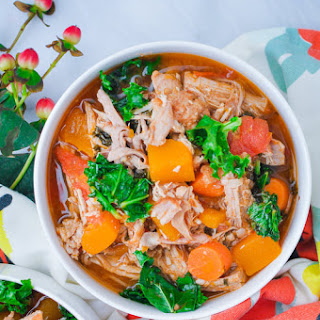 Roasted Pork Shoulder Stew with Butternut Squash, Tomato, and Kale Recipe