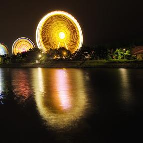 Rolling three times by Matthias Weigel - City,  Street & Park  Amusement Parks ( hdr, regensburg, nacht, dult, langzeitbelichtung, lichtkreis )