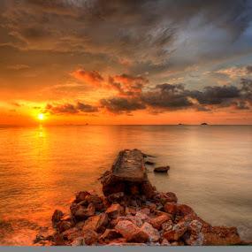 Fiery Sun and Icy Sky by SyaFiq Sha'Rani - Landscapes Sunsets & Sunrises ( fiery, sky, icy, hdr, blue, sunset, bridge, fire, sun )