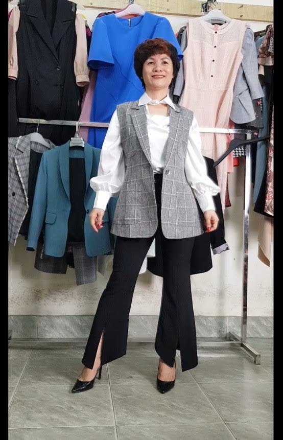 mix đồ áo Vest Nữ với quần Ống Loe thời trang thuỷ quảng ninh