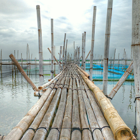 Bamboo Bridge by Joey Tomas - Instagram & Mobile Android ( bamboo, leading lines, clouds and sea, abstract lines, plank, lake, makeshift bridge )
