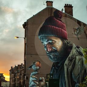 man and birds by Andrei Ciuta - City,  Street & Park  Neighborhoods ( scotland, urban, color, sunset, graffiti, street, glasgow, birds, man, city )