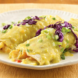 Shrimp Enchiladas with Sweet Corn Sauce.