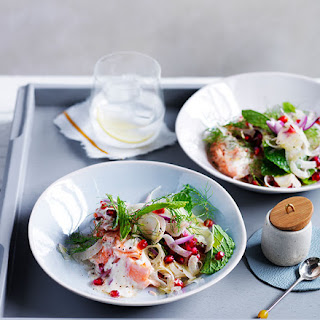 Fish with Tahini Sauce, Pomegranate and Fennel Recipe