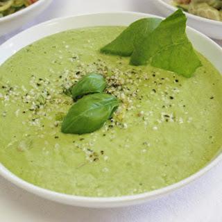Creamy Zucchini Pasta & Avocado Soup