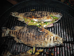 Photo: grilling herb-stuffed bass