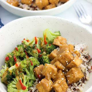 Oven Fried Tofu with Spicy Ginger Sauce.