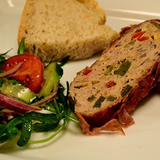 Juicy Turkey Meatloaf wrapped in Prosciutto di Parma.