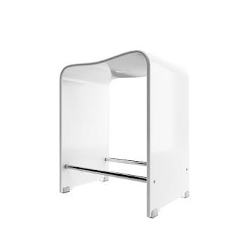 Tabouret de douche, acrylique blanc, 39 x 27 x 47 cm