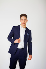 Photo: Blue work suit or separates in cotton with navy white pocket square